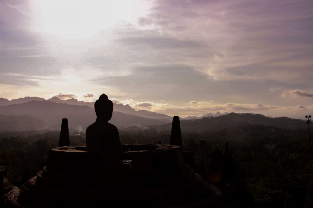 Silhouette image of Buddha in Indonesia
