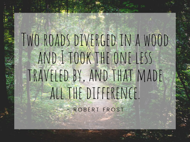 Motivational Quote: Two roads diverged in a wood and I took the one less traveled by, and that made all the difference. - Robert Frost