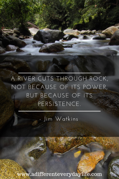 A river cuts through rock, not because of its power but because of its persistence. - Jim Watkins