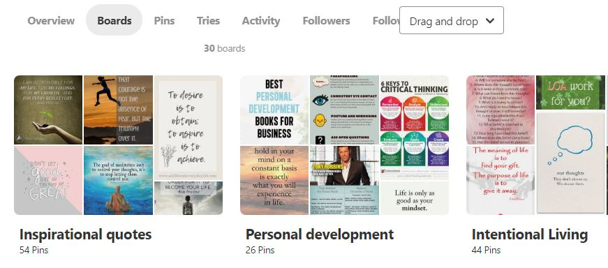 My revamped Pinterest Boards after taking the Pinteresting Strategies course.